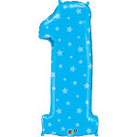 "Number 1 Blue Stars Balloon - 38"" Foil"