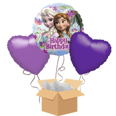 Frozen Happy Birthday Balloon Bouquet - Delivered Inflated