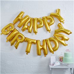 "Happy Birthday Gold Balloon Bunting - 14"" Foil"