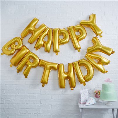 "Happy Birthday Gold Balloon Bunting - 12"" Foil"