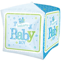 "Cubez Welcome Baby Boy Balloon - 24"" Foil"