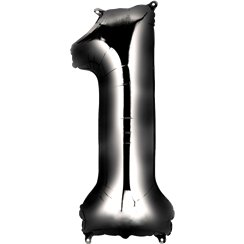 "Black Number 1 Balloon - 34"" Foil"