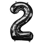 "Black Number 2 Balloon - 34"" Foil"
