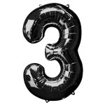 "Black Number 3 Balloon - 34"" Foil"