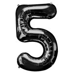 "Black Number 5 Balloon - 34"" Foil"