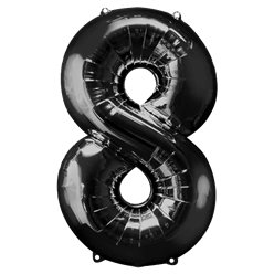"Black Number 8 Balloon - 34"" Foil"
