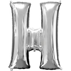 "Silver Letter H Balloon - 16"" Foil"