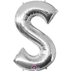 "Silver Letter S Balloon - 16"" Foil"