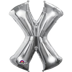 "Silver Letter X Balloon - 16"" Foil"