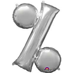 "Silver % Shaped Balloon - 16"" Foil"