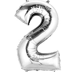 "Silver Number 2 Balloon - 16"" Foil"