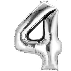 "Silver Number 4 Balloon - 16"" Foil"