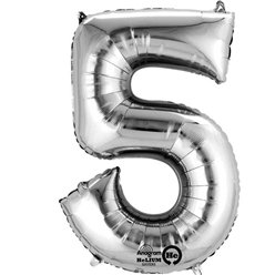 Silver Number 5 Balloon - 16