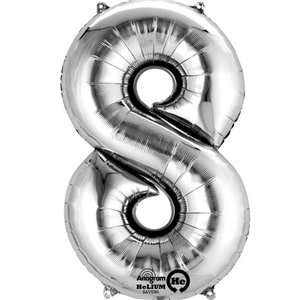 Silver Number 8 Balloon - 16