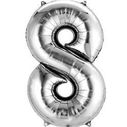 "Silver Number 8 Balloon - 16"" Foil"