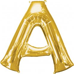 "Gold Letter A Balloon - 16"" Foil"