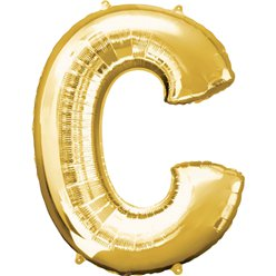 "Gold Letter C Balloon - 16"" Foil"