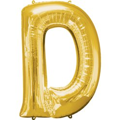 "Gold Letter D Balloon - 16"" Foil"