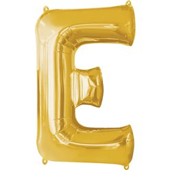 "Gold Letter E Balloon - 16"" Foil"