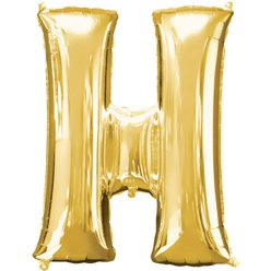 "Gold Letter H Balloon - 16"" Foil"