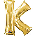 "Gold Letter K Balloon - 16"" Foil"