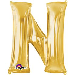 "Gold Letter N Balloon - 16"" Foil"