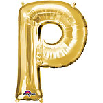 "Gold Letter P Balloon - 16"" Foil"