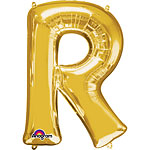 "Gold Letter R Balloon - 16"" Foil"