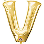 "Gold Letter V Balloon - 16"" Foil"