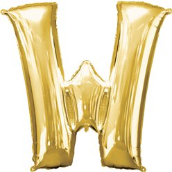 "Gold Letter W Balloon - 16"" Foil"