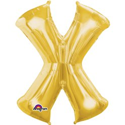 "Gold Letter X Balloon - 16"" Foil"