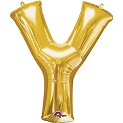 "Gold Letter Y Balloon - 16"" Foil"