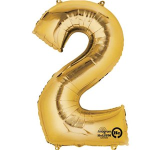Gold Number 2 Balloon - 16
