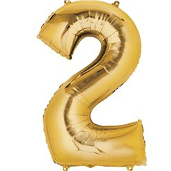 "Gold Number 2 Balloon - 16"" Foil"