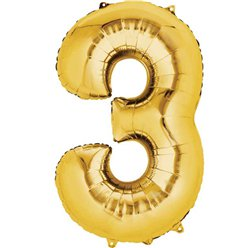 "Gold Number 3 Balloon - 16"" Foil"