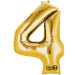 "Gold Number 4 Balloon - 16"" Foil"