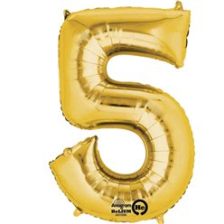 Gold Number 5 Balloon - 16