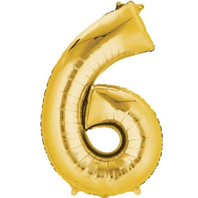 "Gold Number 6 Balloon - 16"" Foil"