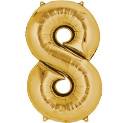 "Gold Number 8 Balloon - 16"" Foil"