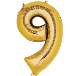"Gold Number 9 Balloon - 16"" Foil"