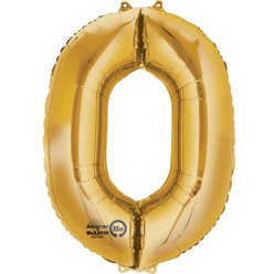 "Gold Number 0 Balloon - 16"" Foil"