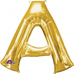 "Gold Letter A Balloon - 34"" Foil"