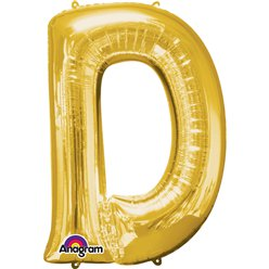 "Gold Letter D Balloon - 34"" Foil"