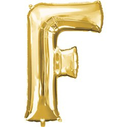 "Gold Letter F Balloon - 34"" Foil"