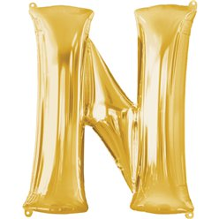 "Gold Letter N Balloon - 34"" Foil"
