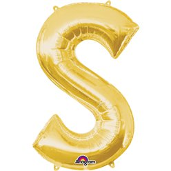 "Gold Letter S Balloon - 34"" Foil"
