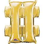 "Gold Hashtag Shaped Balloon - 34"" Foil"