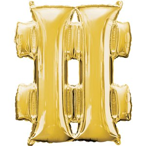 Gold Hashtag Shaped Balloon - 34