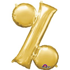 "Gold % Shaped Balloon - 34"" Foil"