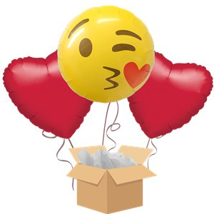 Emoji Kiss Balloon Bouquet - Delivered Inflated